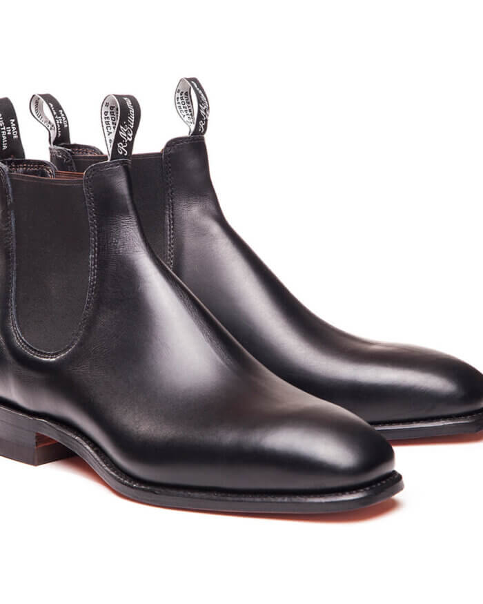 R.M. Williams Black Craftsman Boot Yearling Leather | Davids Of Haslemere