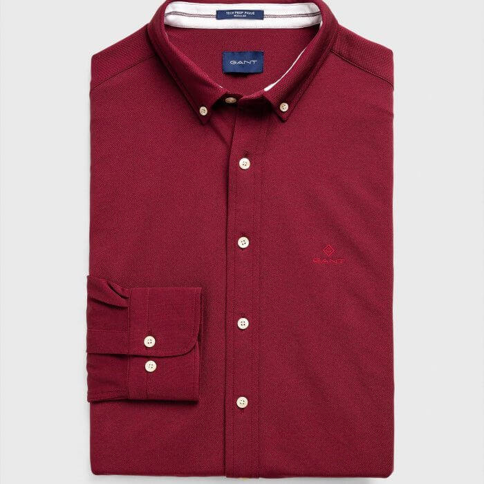 Gant Shirt Maroon | Davids Of Haslemere