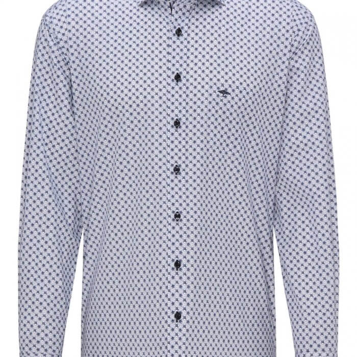 Fynch Hatton Blue Graphic Print Shirt | Davids Of Haslemere