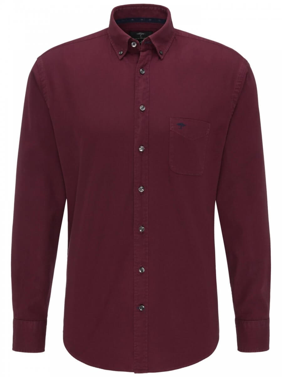 Fynch Hatton Garment Dyed Shirt Indian Red | Davids Of Haslemere