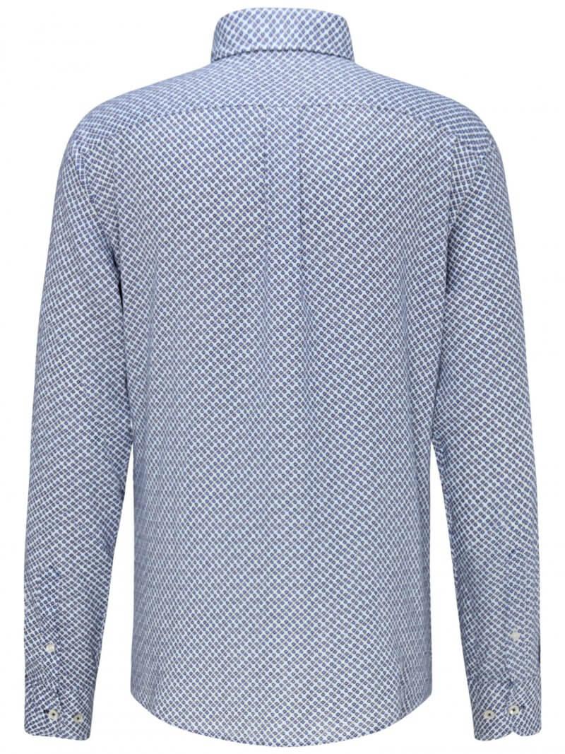 Fynch Hatton Linen Blue Print Long Sleeve Shirt | Davids Of Haslemere
