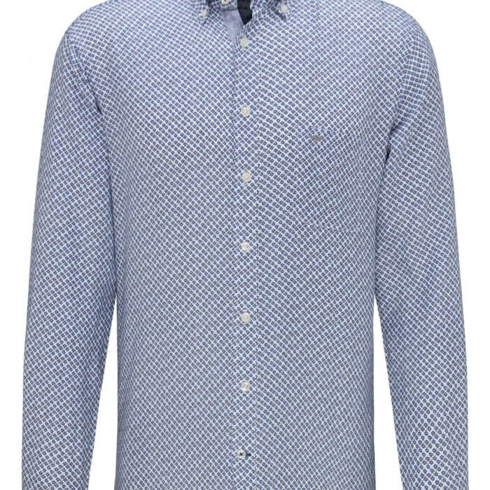Fynch Hatton Linen Blue Print Long Sleeve Shirt | Davids Of Haslemere