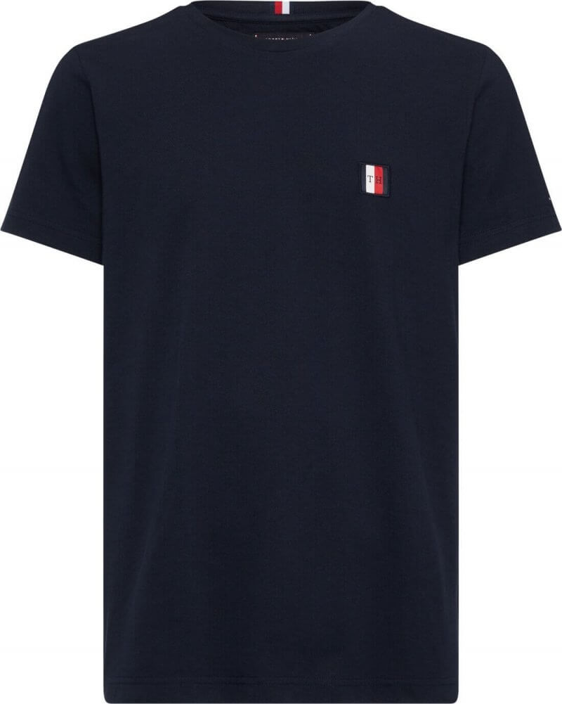 Tommy Hilfiger Woven Label Pique Navy Tee | Davids Of Haslemere