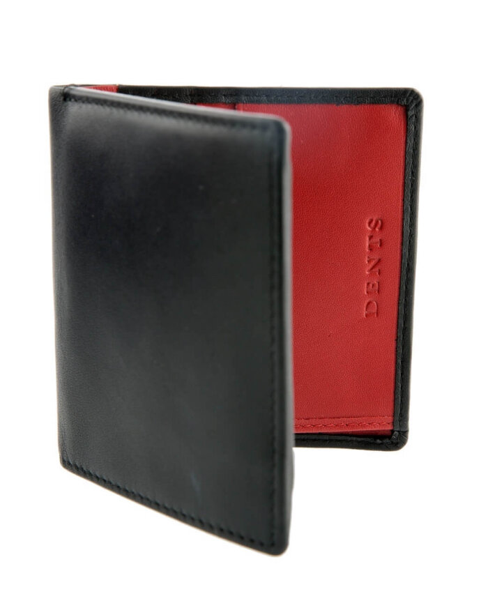 Black & Red Leather Dents Card Holder