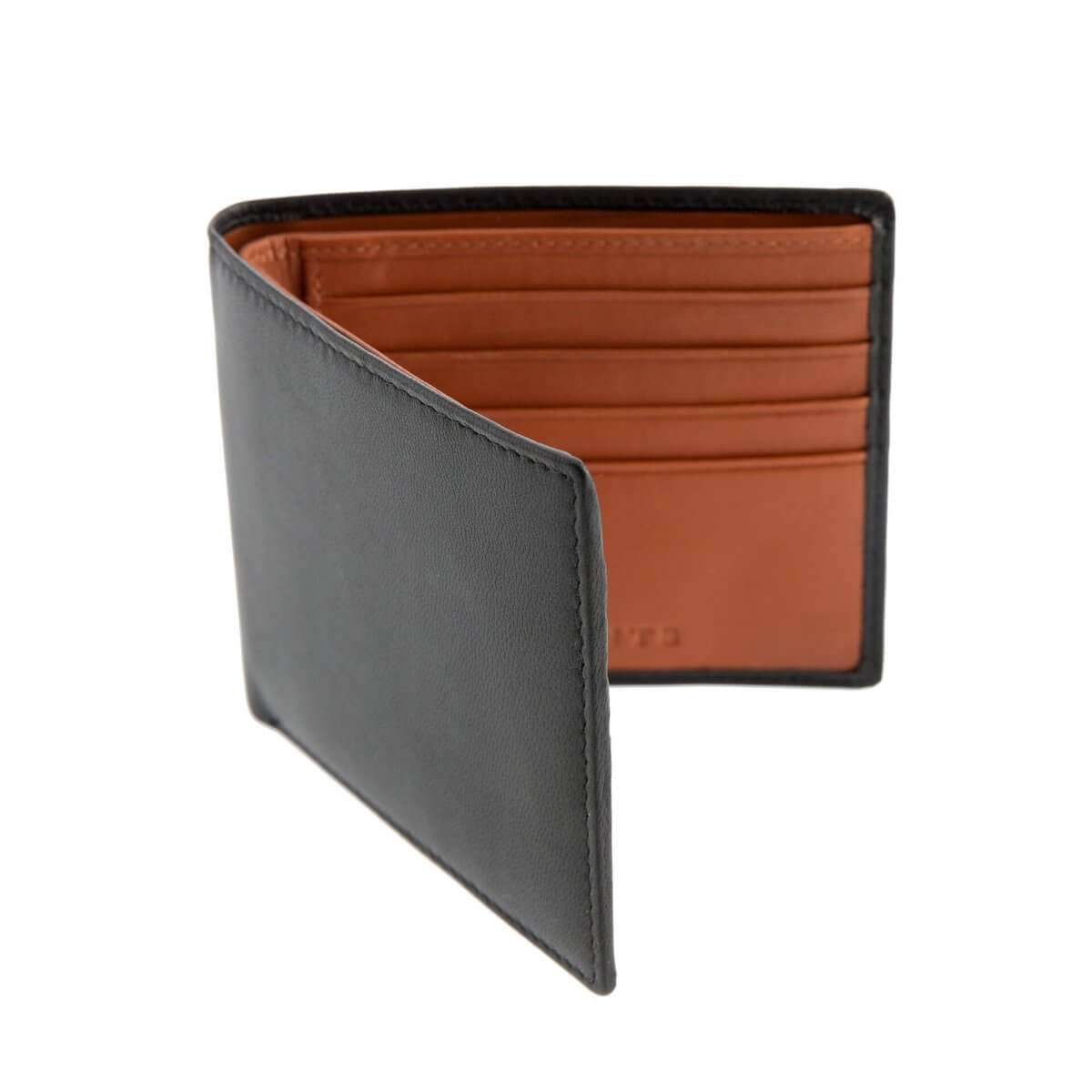 Black & Orange Leather Dents Wallet