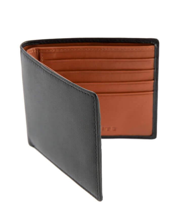 Black & Orange Leather Dents Wallet