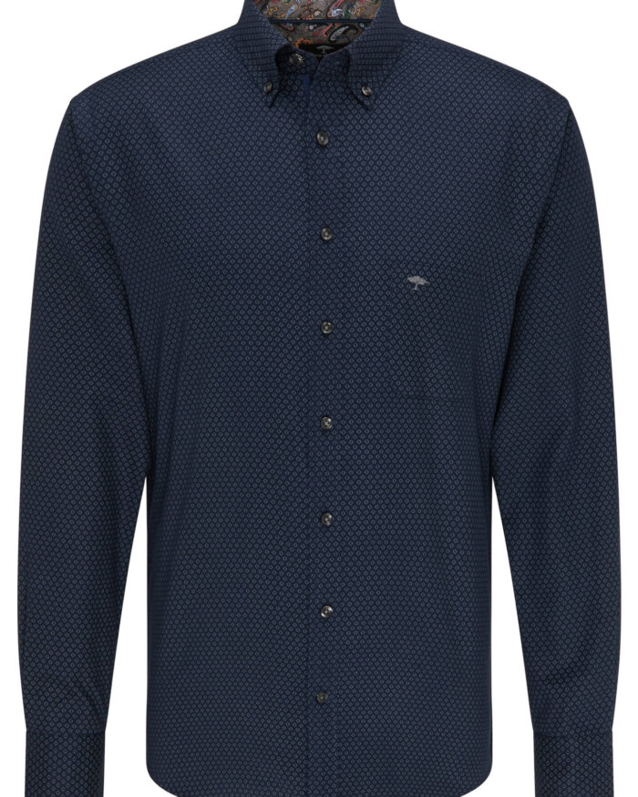 Fynch Hatton Navy Shirt with Pattern