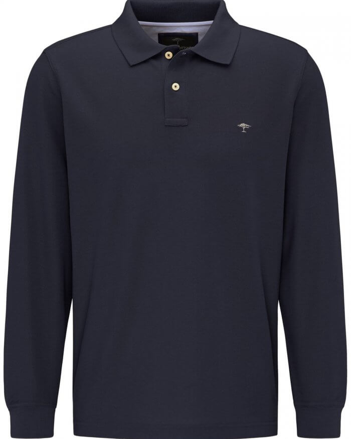 Fynch Hatton Long Sleeve Polo in Black