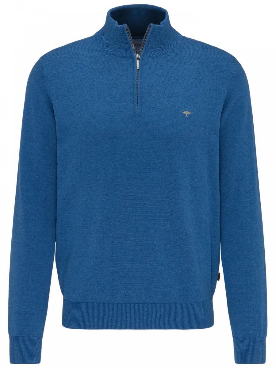 Fynch Hatton Quarter Zip Jacket in Blue