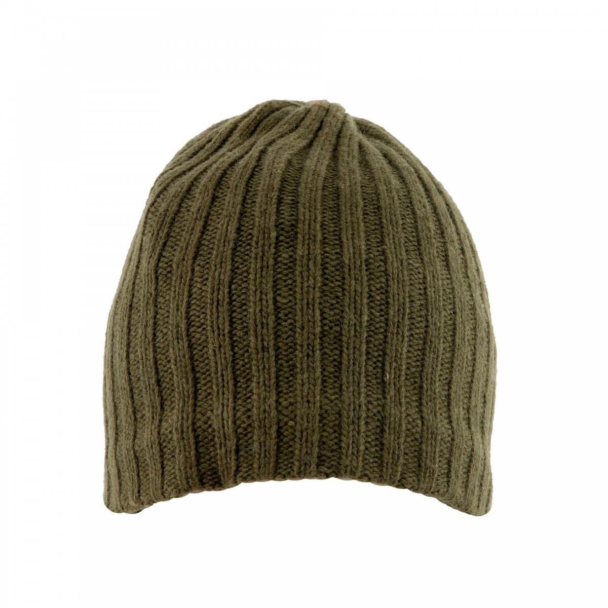 Wool Beanie Hat in Khaki Green
