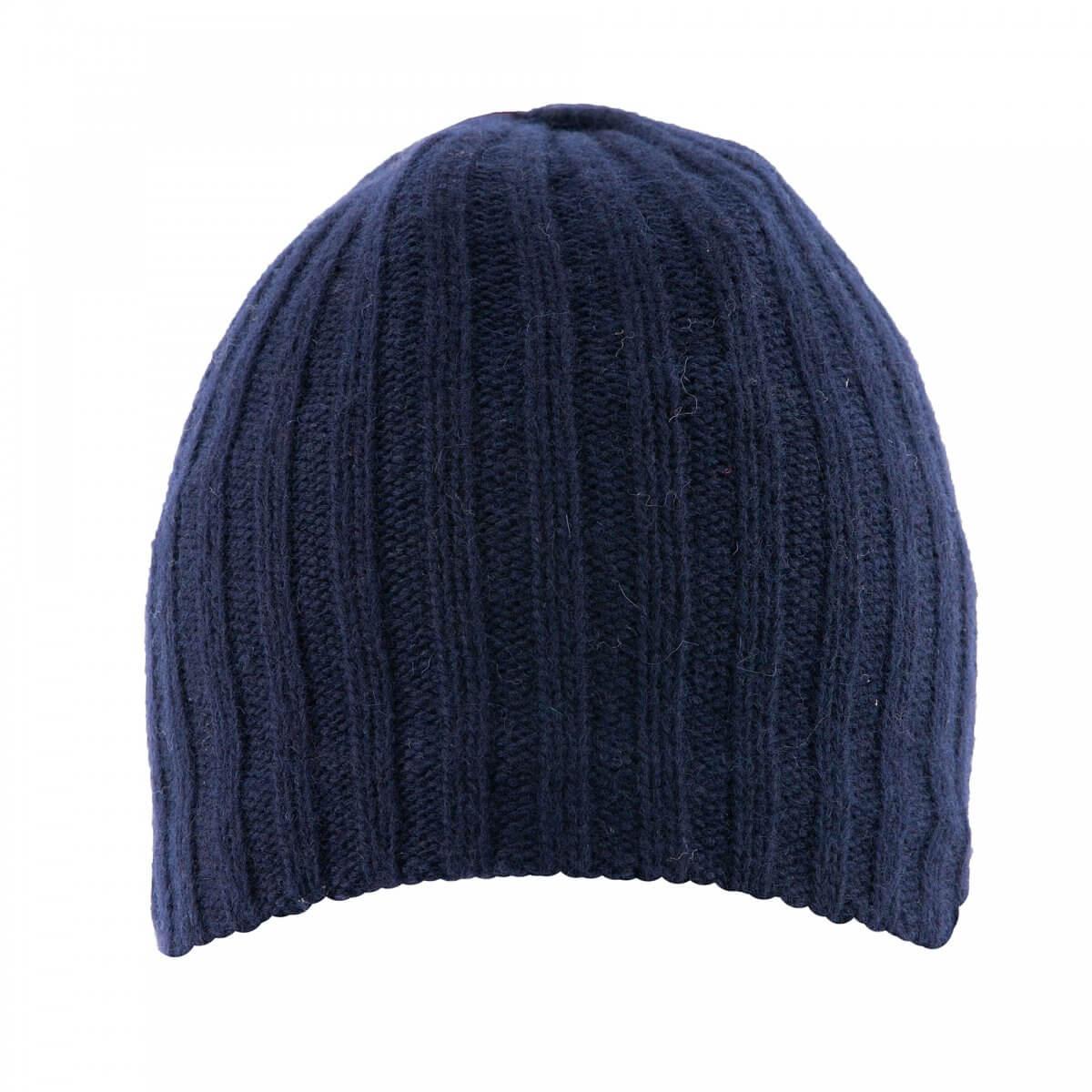 Wool Beanie Hat in Navy Blue