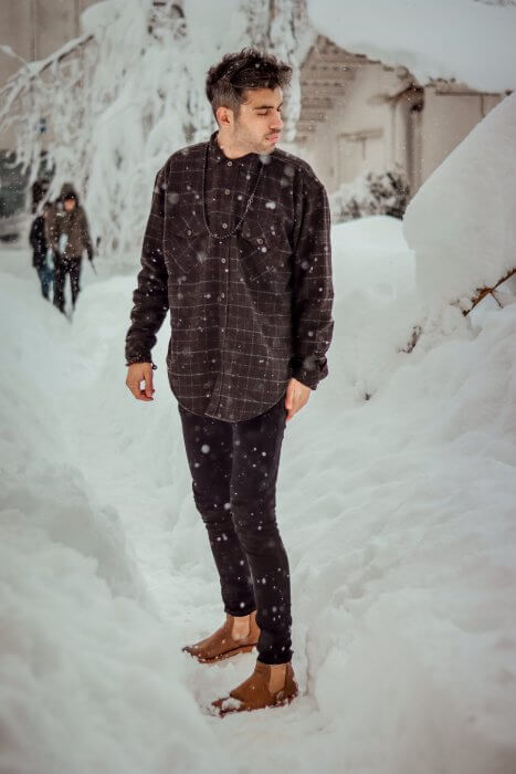 Gentleman Wearing Check Shirt in Snow